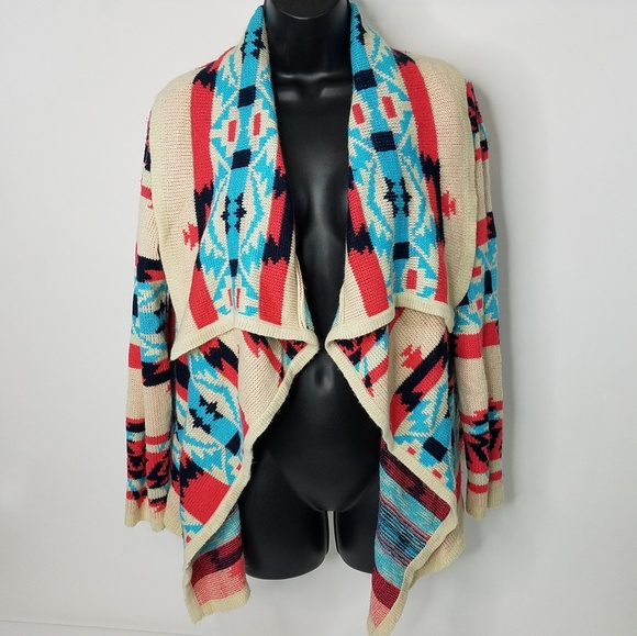 Moon Collection Sweaters - Moon Collection Soft Aztec Print Open Cardigan